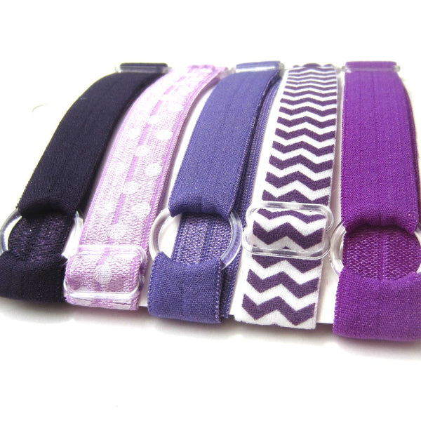 Adjustable Elastic Headband-Set of 5 Purples - Hold It!