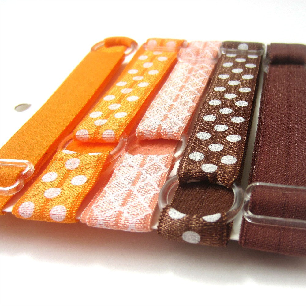 Adjustable Elastic Headband-Set of 5 Orange & Brown - Hold It!