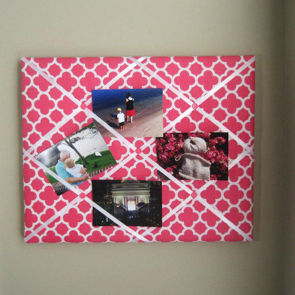 "16""x20"" Memory Board or Bow Holder-Hot Pink Quatrefoil - Hold It!"