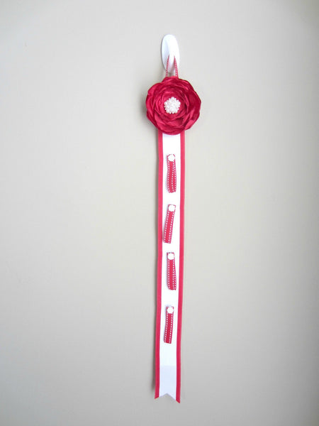Red and White Ponytail Elastic Organizer
