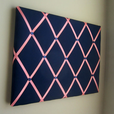 "16""x20"" Memory Board or Bow Holder-Navy & Coral - Hold It!"