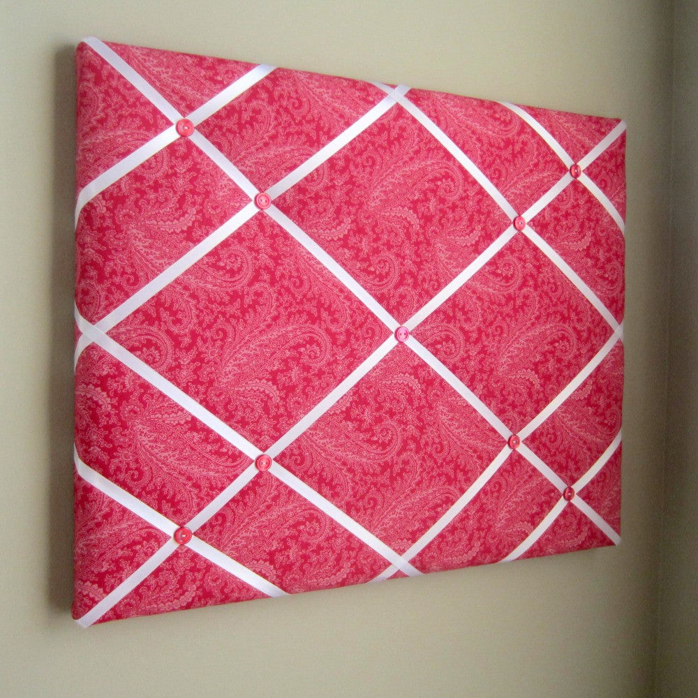 "16""x20"" Memory Board or Bow Holder-Red Tonal Floral Paisley"