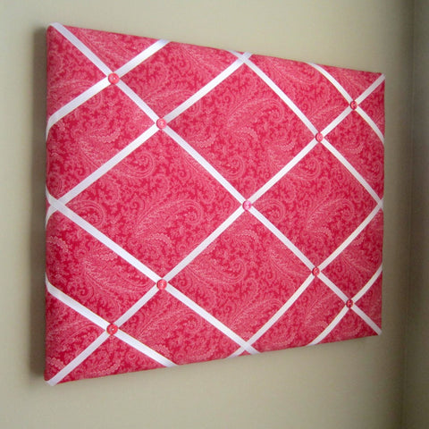 "11""x14"" Memory Board or Bow Holder-Red Tonal Floral Paisley"