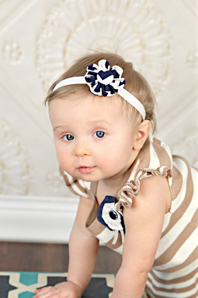 Navy & White Chevron Kanzashi Fabric Flower-Available in 4 Styles - Hold It!