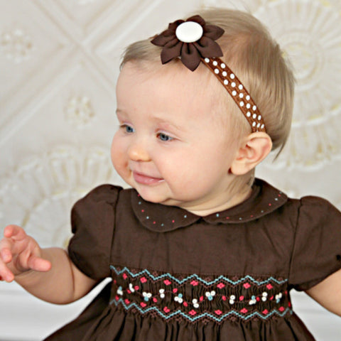 Brown & White Kanzashi Fabric Flower-Available in 4 Styles - Hold It!