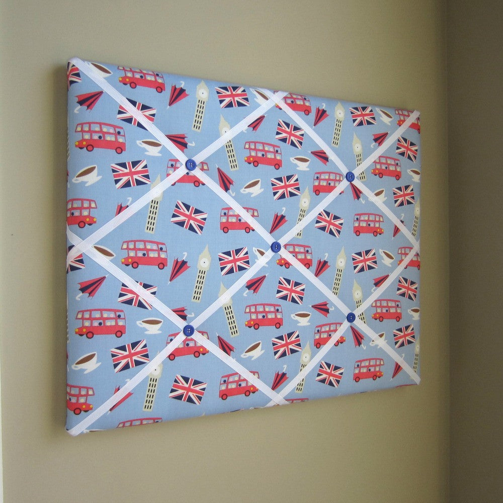 "16""x20"" Memory Board or Bow Holder-London Calling Blue Icons - Hold It!"