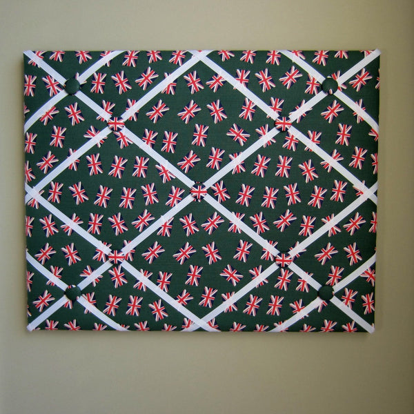 "16""x20"" Memory Board or Bow Holder-London Calling Green Union Jack - Hold It!"