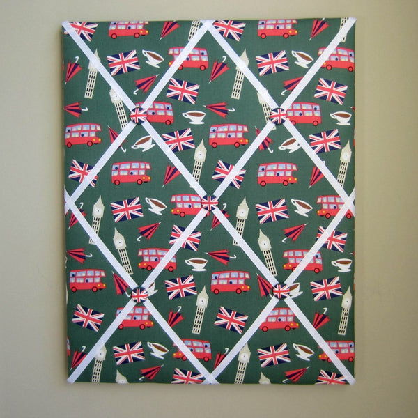 "16""x20"" Memory Board or Bow Holder-London Calling Green British Icons - Hold It!"