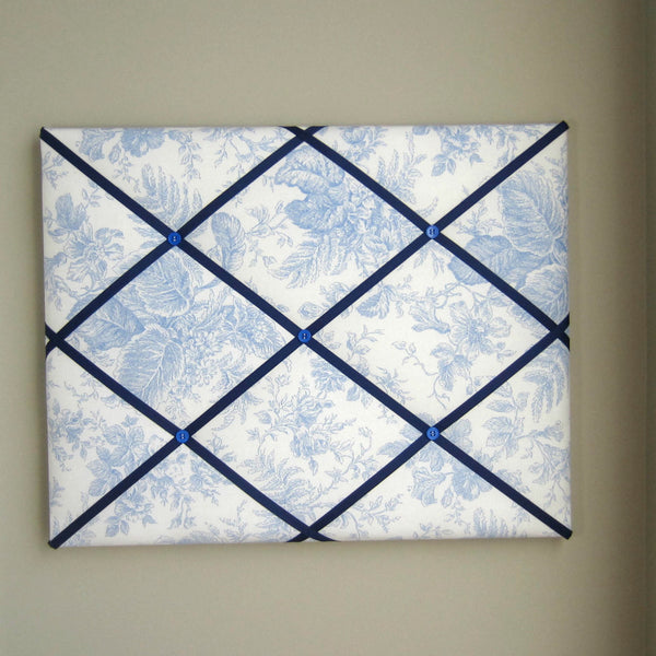 "16""x20"" Memory Board or Bow Holder-Light Blue Ink Floral - Hold It!"
