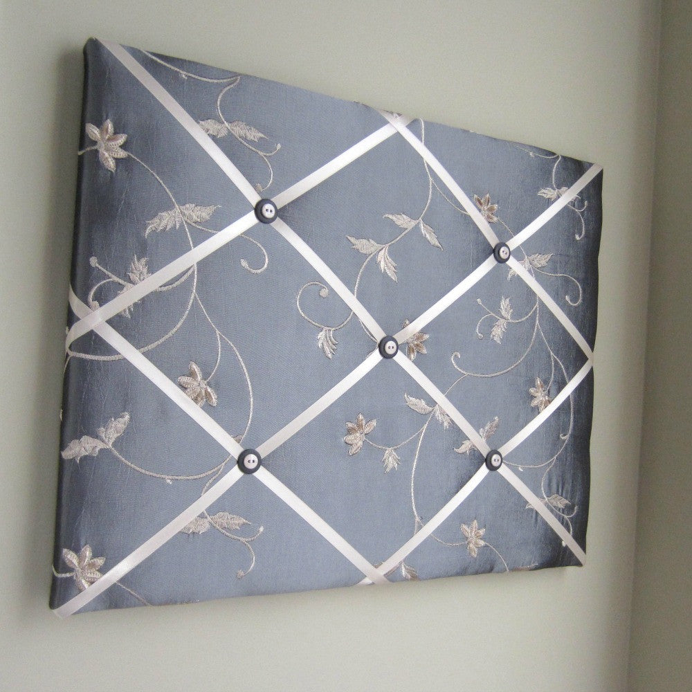 "16""x20"" Memory Board or Bow Holder-Grey & Beige Embroidered Floral - Hold It!"