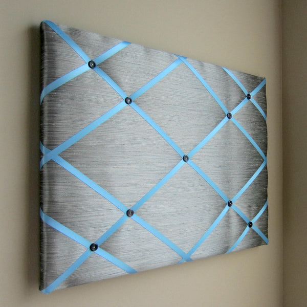 "16""x20"" Memory Board or Bow Holder-Grey Shantung - Hold It!"