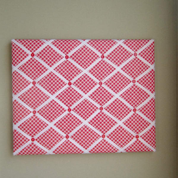 "16""x20"" Memory Board or Bow Holder-Red Sketch Bias Gingham - Hold It!"