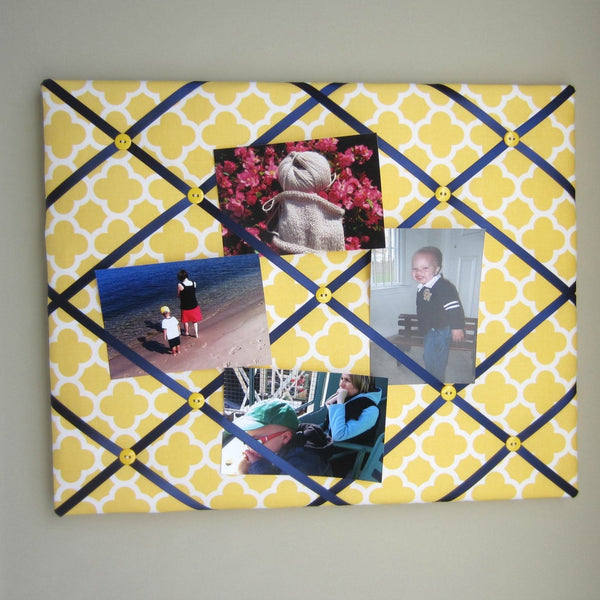 "16""x20"" Memory Board or Bow Holder-Yellow Quatrefoil - Hold It!"
