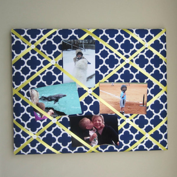 "16""x20"" Memory Board or Bow Holder-Navy Quatrefoil - Hold It!"