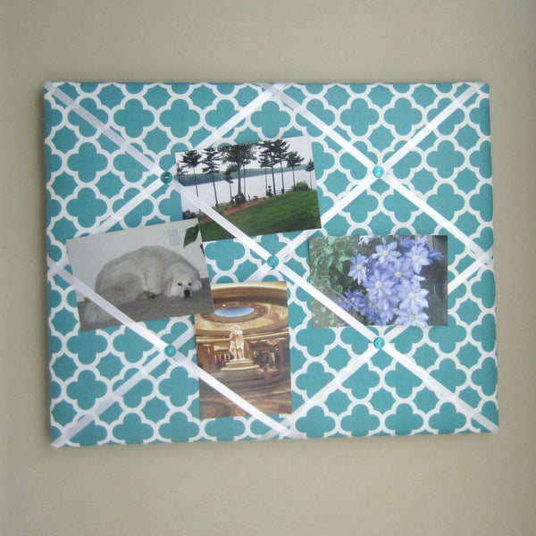 "16""x20"" Memory Board or Bow Holder-Teal Quatrefoil - Hold It!"