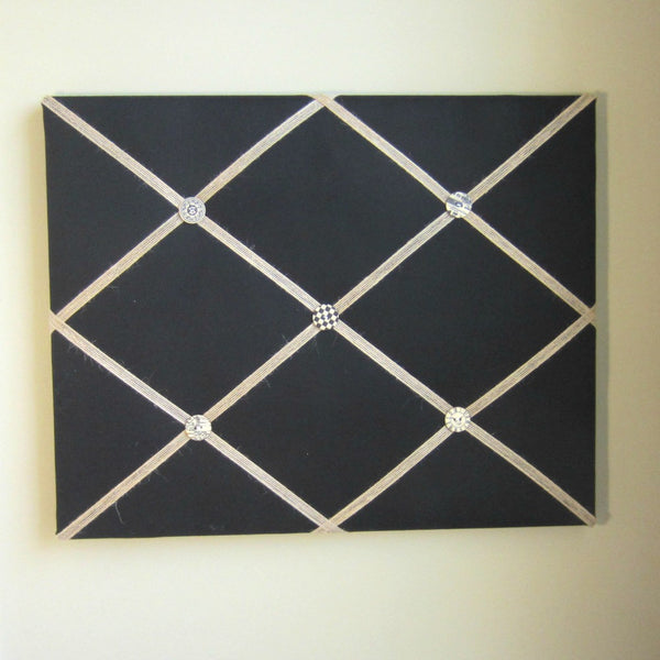 "16""x20"" Memory Board or Bow Holder-Black & Burlap - Hold It!"