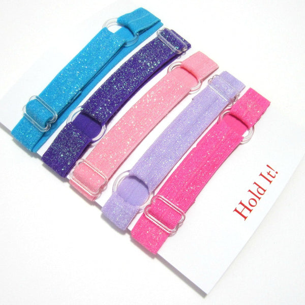 Adjustable Elastic Headband-Set of 5 Pink & Purple Glitter - Hold It!