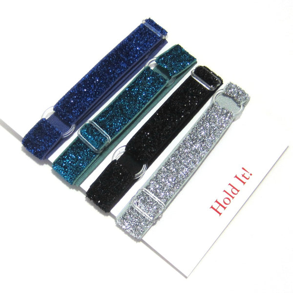 Adjustable Elastic Headband-Set of 4 Blue, Green, Black, Silver Frost Glitter - Hold It!