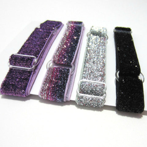 Adjustable Elastic Headband-Set of 4 Purple Frost Glitter - Hold It!