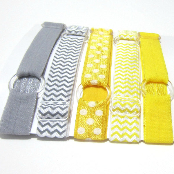 Adjustable Elastic Headband-Set of 5 Yellow & Grey - Hold It!