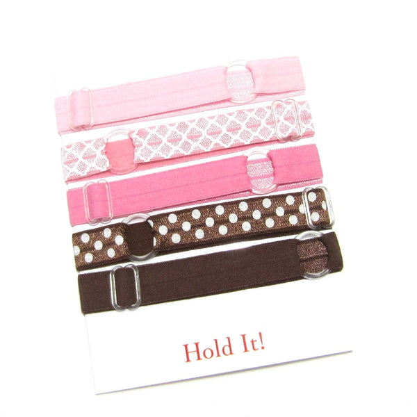 Adjustable Elastic Headband-Set of 5 Pink & Brown - Hold It!