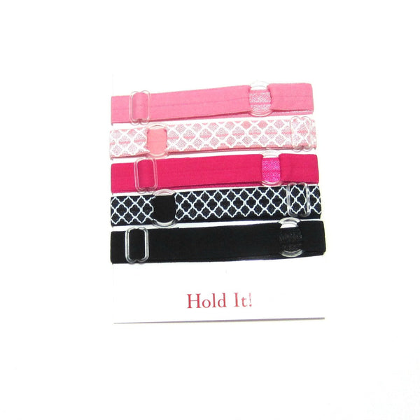 Adjustable Elastic Headband-Set of 5 Pink & Black - Hold It!