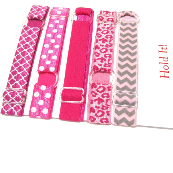 Adjustable Elastic Headband-Set of 5 Pinks - Hold It!