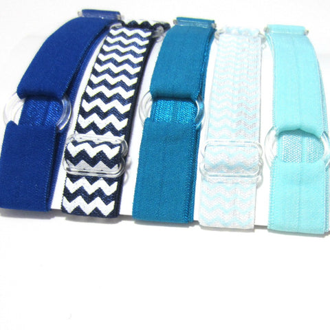 Adjustable Elastic Headband-Set of 5 Blues - Hold It!