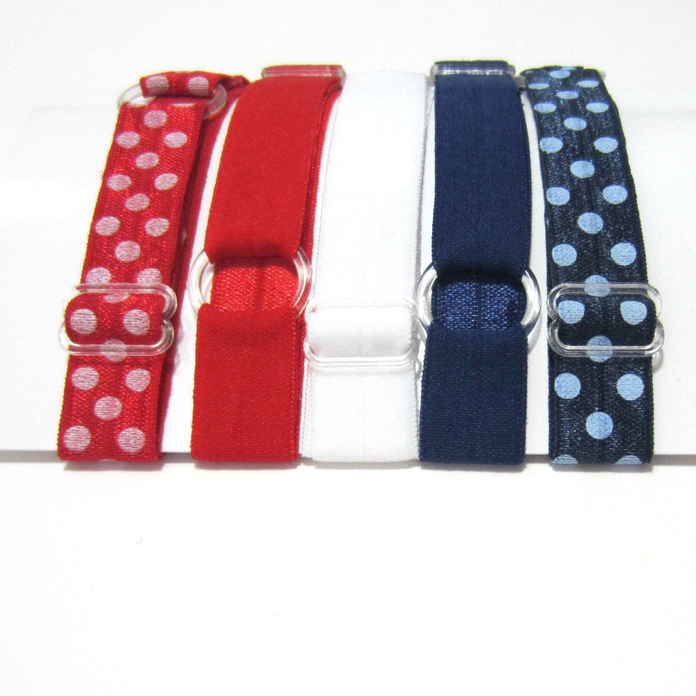 Adjustable Elastic Headband-Set of 5 Red,  White & Blue - Hold It!