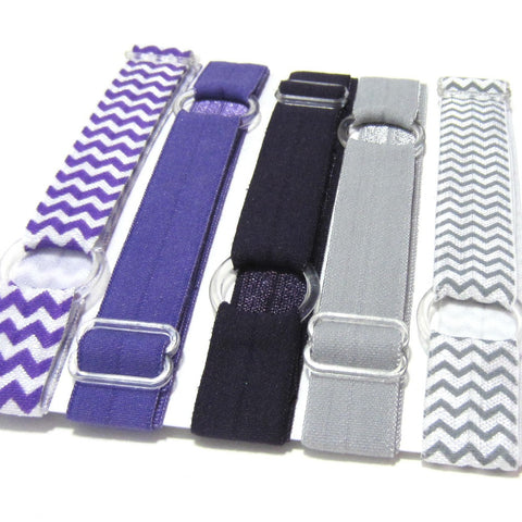 Adjustable Elastic Headband-Set of 5 Purple & Grey - Hold It!