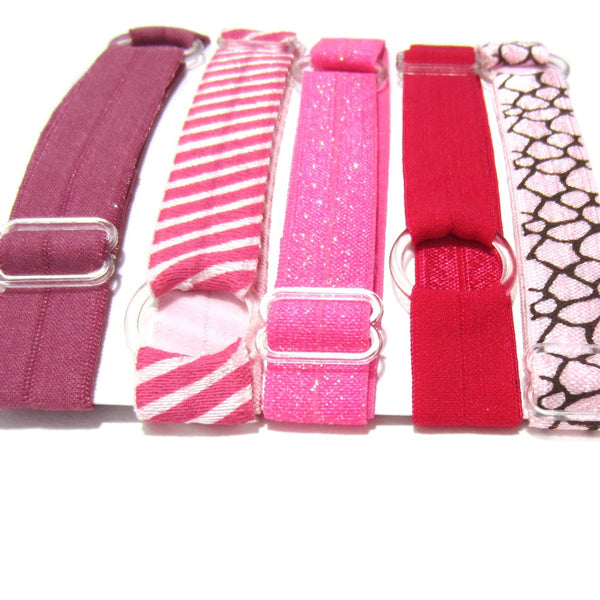 Adjustable Elastic Headband-Set of 5 Pink One of a Kind - Hold It!