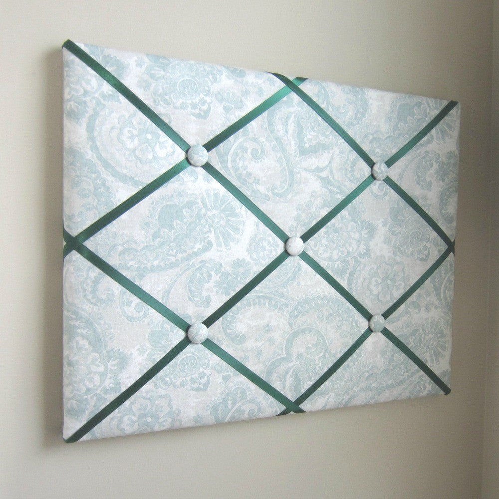 "16""x20"" Memory Board or Bow Holder-Abstract Paisley Blue Green - Hold It!"