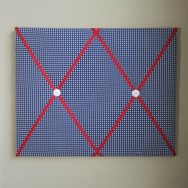 "16""x20"" Memory Board or Bow Holder-Navy Blue Gingham & Red - Hold It!"
