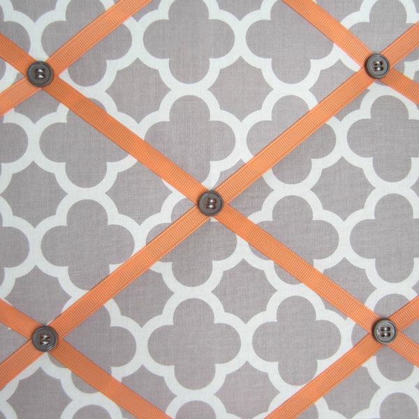 "11""x14"" Memory Board or Bow Holder-Grey Quatrefoil & Apricot - Hold It!"