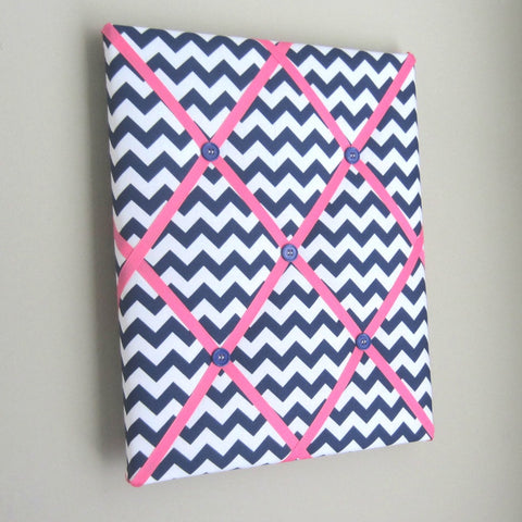 "11""x14"" Memory Board or Bow Holder-Navy Chevron & Hot Pink - Hold It!"
