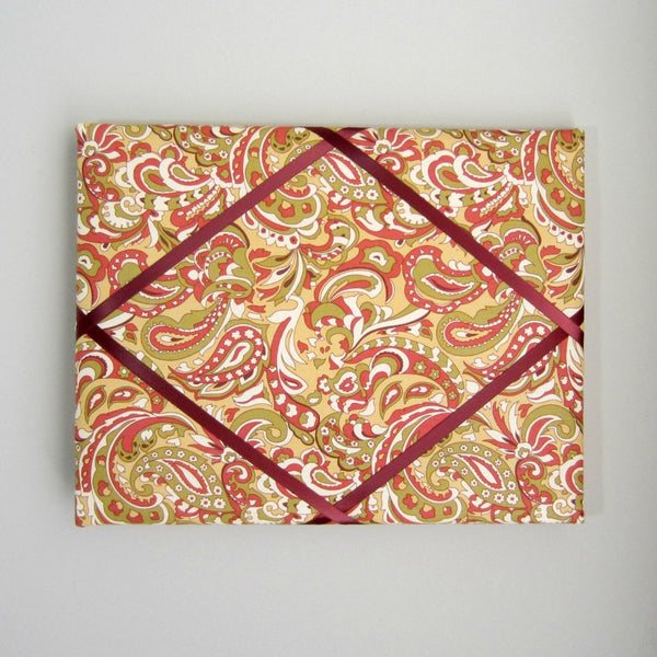 "11""x14"" Memory Board or Bow Holder-Tan, Burgundy & Green Paisley"