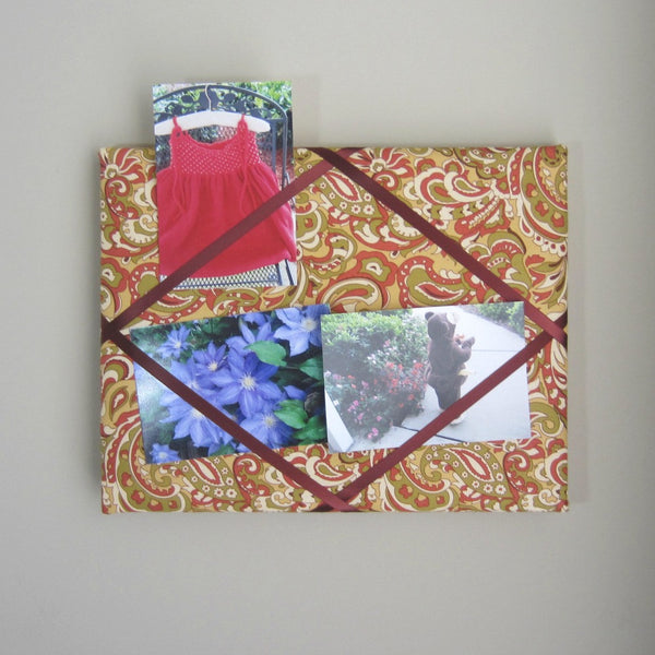 "11""x14"" Memory Board or Bow Holder-Tan, Burgundy & Green Paisley - Hold It!"