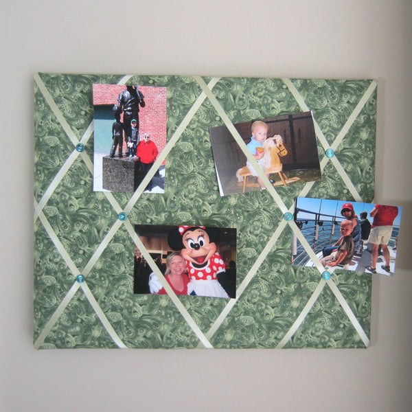 "16""x20"" Memory Board or Bow Holder-Forest Green Paisley - Hold It!"