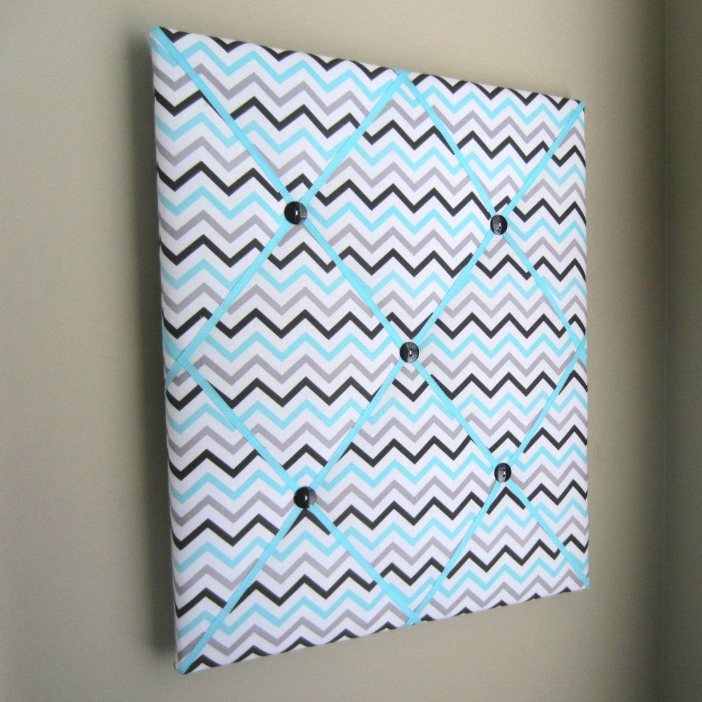 "16""x20"" Memory Board or Bow Holder-Turquoise & Grey Chevron - Hold It!"