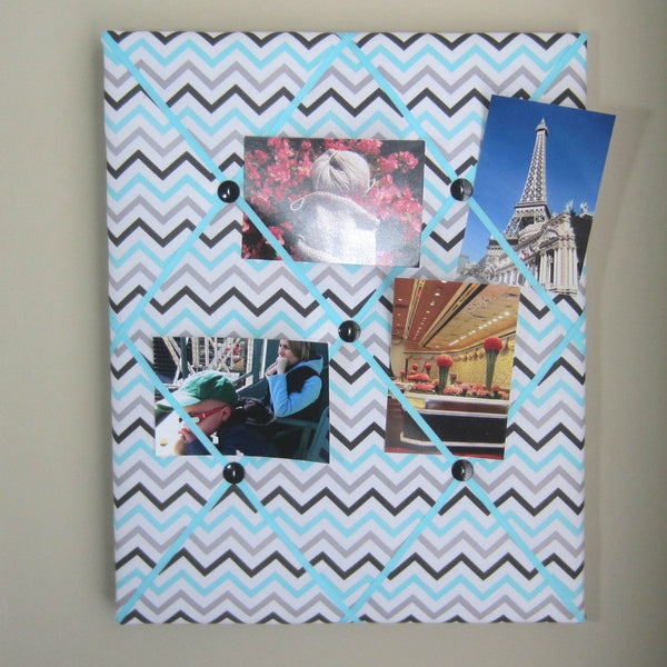 "16""x20"" Memory Board or Bow Holder-Turquoise & Grey Chevron"