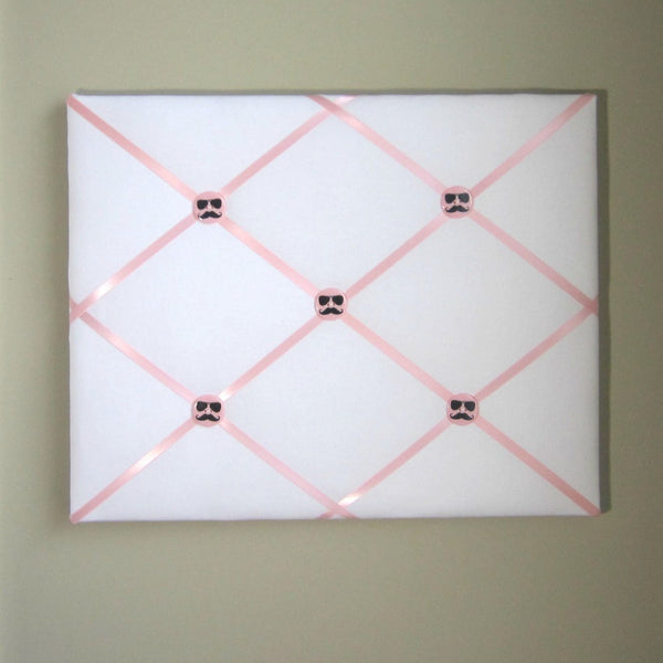 "16""x20"" Memory Board or Bow Holder-White & Light Pink"
