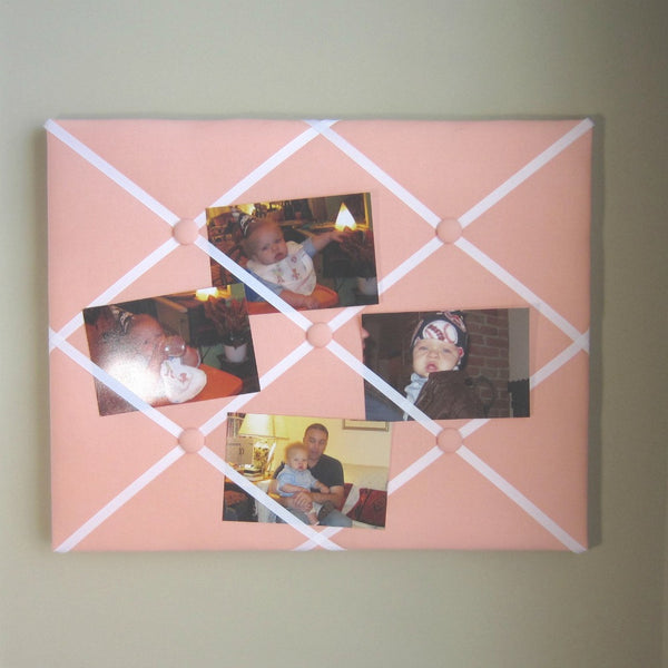 "16""x20"" Memory Board or Bow Holder-Peach & White - Hold It!"