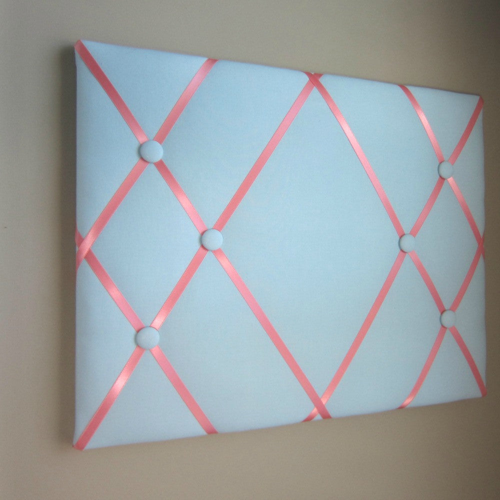 "16""x20"" Memory Board or Bow Holder-Baby Blue & Coral - Hold It!"