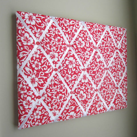 "16""x20""  Memory Board or Bow Holder-Red & White Hibiscus"