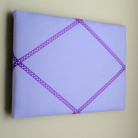 "11""x14"" Memory Board or Bow Holder-Lilac & Purple Polka Dot"