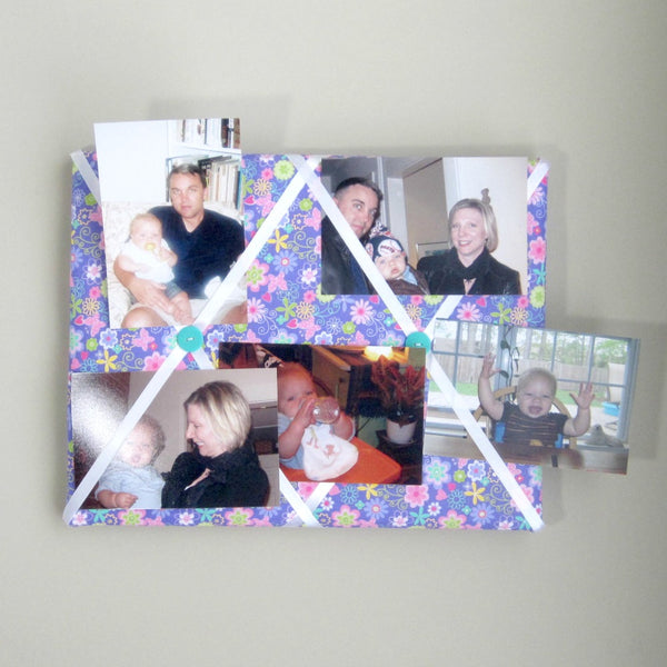 "11""x14"" Memory Board or Bow Holder-Purple Floral & Butterflies - Hold It!"