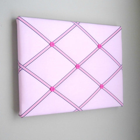 "11""x14"" Memory Board or Bow Holder-Pink & Navy Blue Preppy"