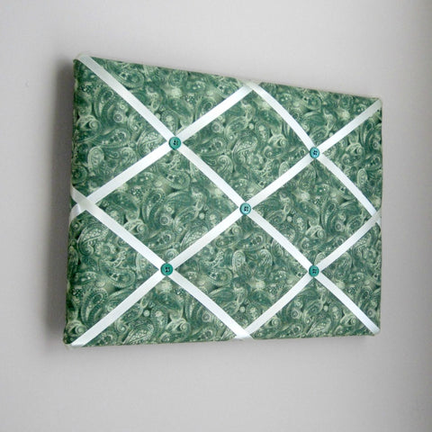 "11""x14"" Memory Board or Bow Holder-Forest Green Paisley - Hold It!"