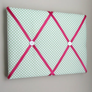"11""x14"" Memory Board or Bow Holder-Green & Fuschia Polka Dot - Hold It!"