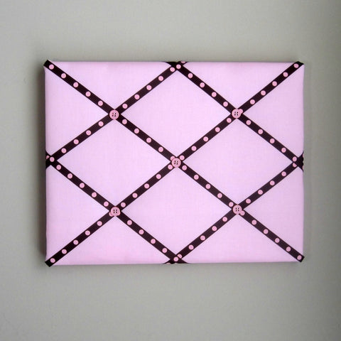 "11""x14"" Memory Board or Bow Holder-Pink & Brown Polka Dot"